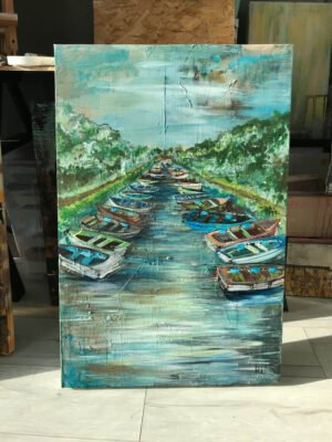 Boats at Ross Castle-acrylic-painting-on-canvas